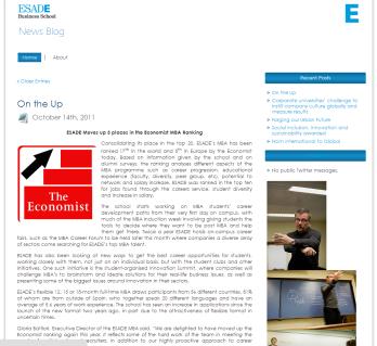Desarrollo Blog ESADE Comunicacion