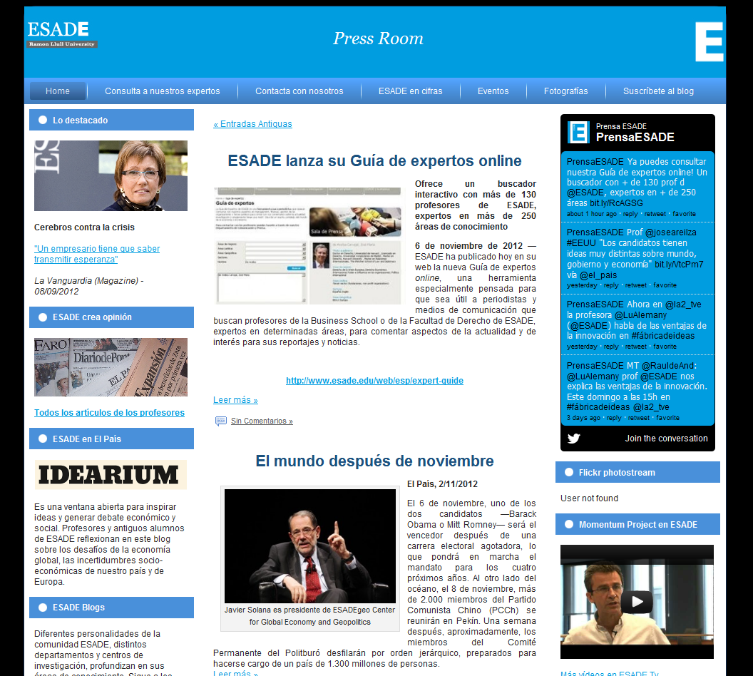 desarrollo web sala de prensa ESADE business school