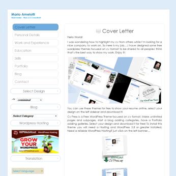 Plantilla Web WordPress Gratis Curriculum Azul