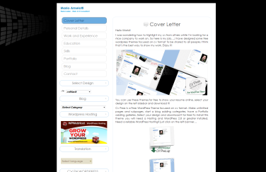 Plantilla Web WordPress Gratis Curriculum Negro