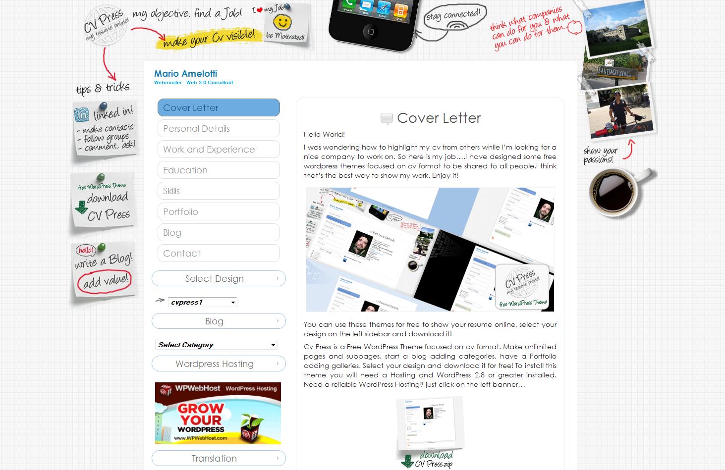 CV Press, 5 temas WordPress para mostrar tu Currículum – Marketing ...