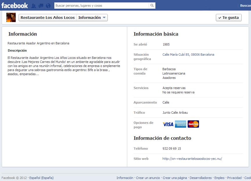 Diseño Página Facebook Restaurante – Marketing Digital Barcelona