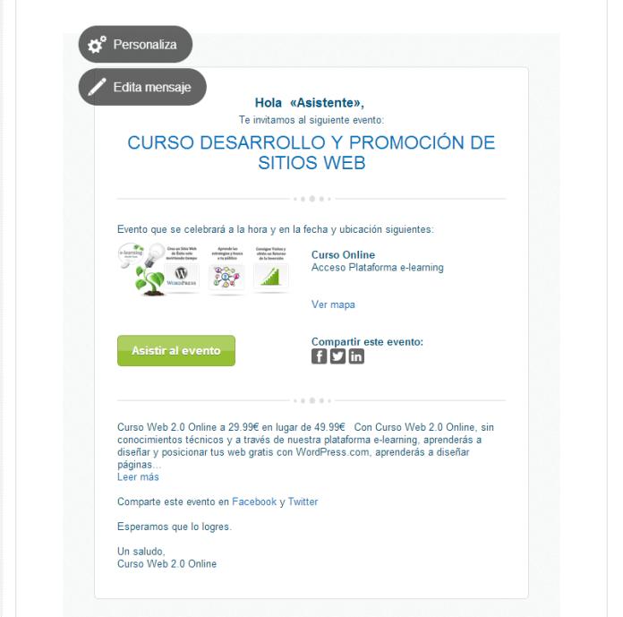Ejemplo Invitación email Organizacion de Eventos