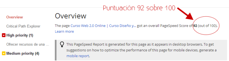 ResultadosTest de Velocidad paginas web