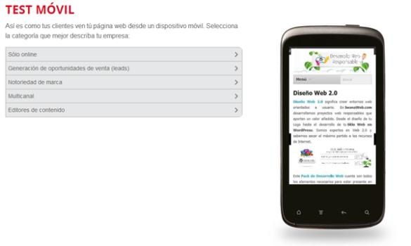 Test de Visibilidad y Velocidad  paginas web en Movil