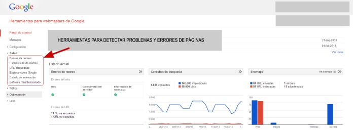 Webmaster Tools para detectar problemas y errores de paginas web