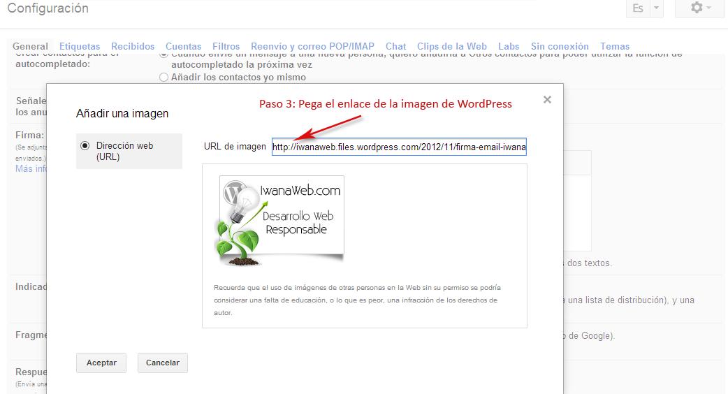 Insertar Enlace Firma de Correo Gmail