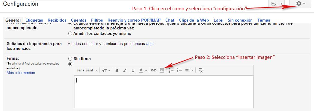 Insertar Firma de Correo Gmail