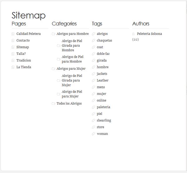 sitemap o mapa de sitio de pagina web