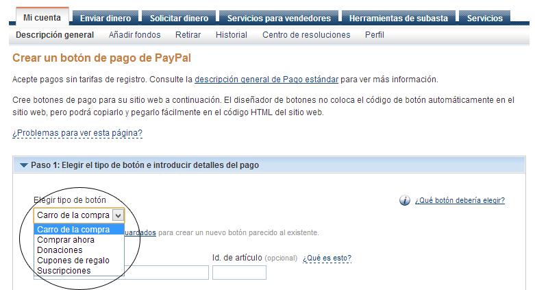 Crear Botones Comprar Donar con PayPal