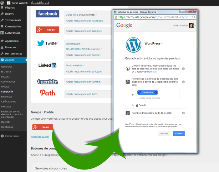 Conectar Cuenta Google Plus con WordPress.com