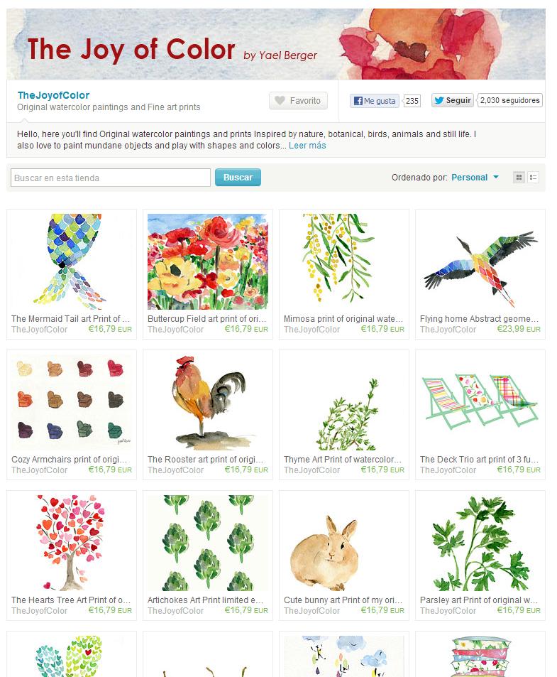 Ejemplo de tienda online de Artista Pintor en Etsy