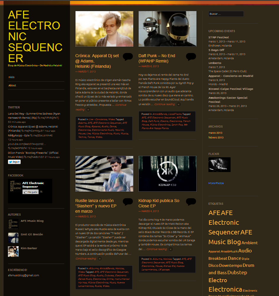 Plantilla Web Gratis WordPress de Blog Musica electronica