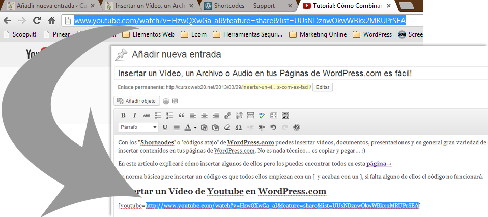 Insertar Vídeo Youtube en WordPress.com