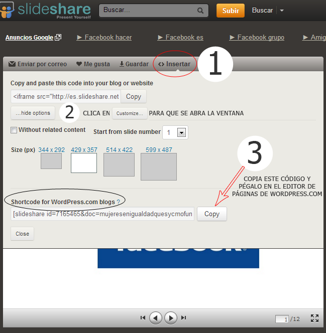 Insertar Presentacion de Slideshare en WordPress.com