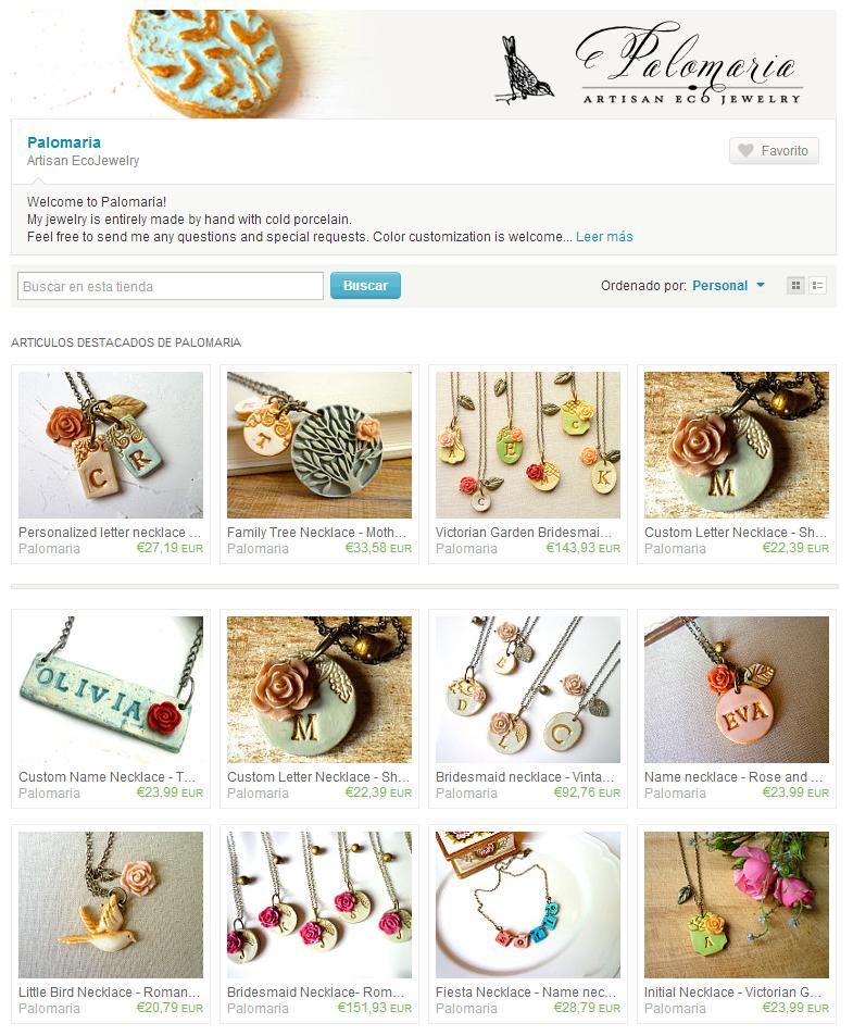 Ejemplo de tienda online de Joyas Artesanas en Etsy