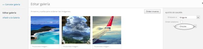 insertar una galeria de imagenes circulos en wordpress