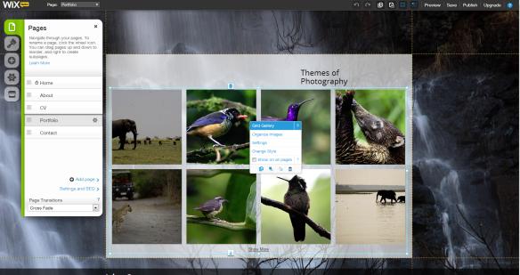 Panel de Control Wix para Crear tu Portfolio de fotos Gratis