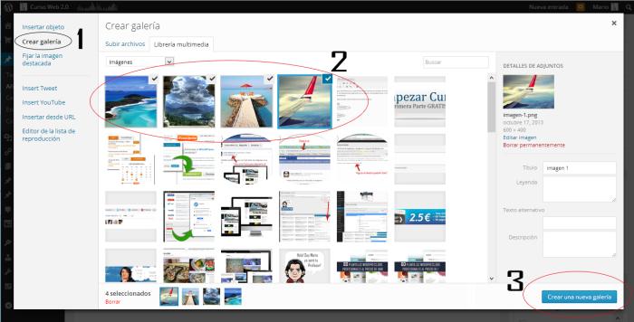 insertar una galeria de imagenes en wordpress