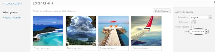 insertar una galeria de imagenes thumbnail grid en wordpress