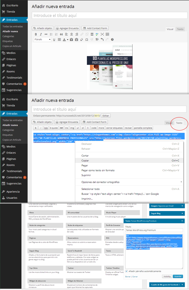 Widget de Texto WordPress.com Insertar Banner