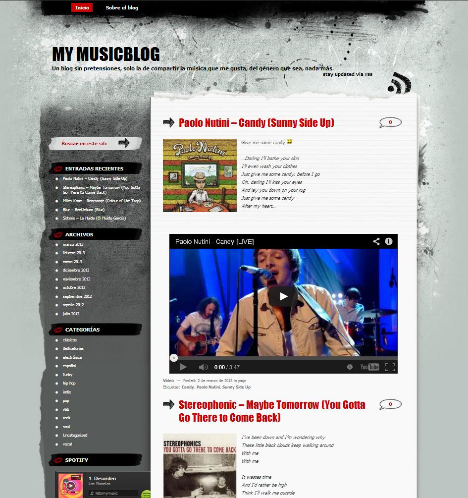 Plantilla Web Gratis de Blog Musica