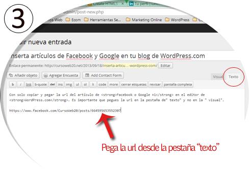 Poner un Post de FB y Google en WordPress Paso 3