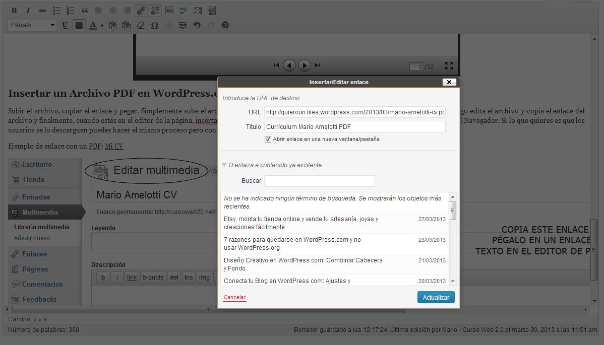 Insertar un enlace en PDF en el editor de páginas de WordPress.com