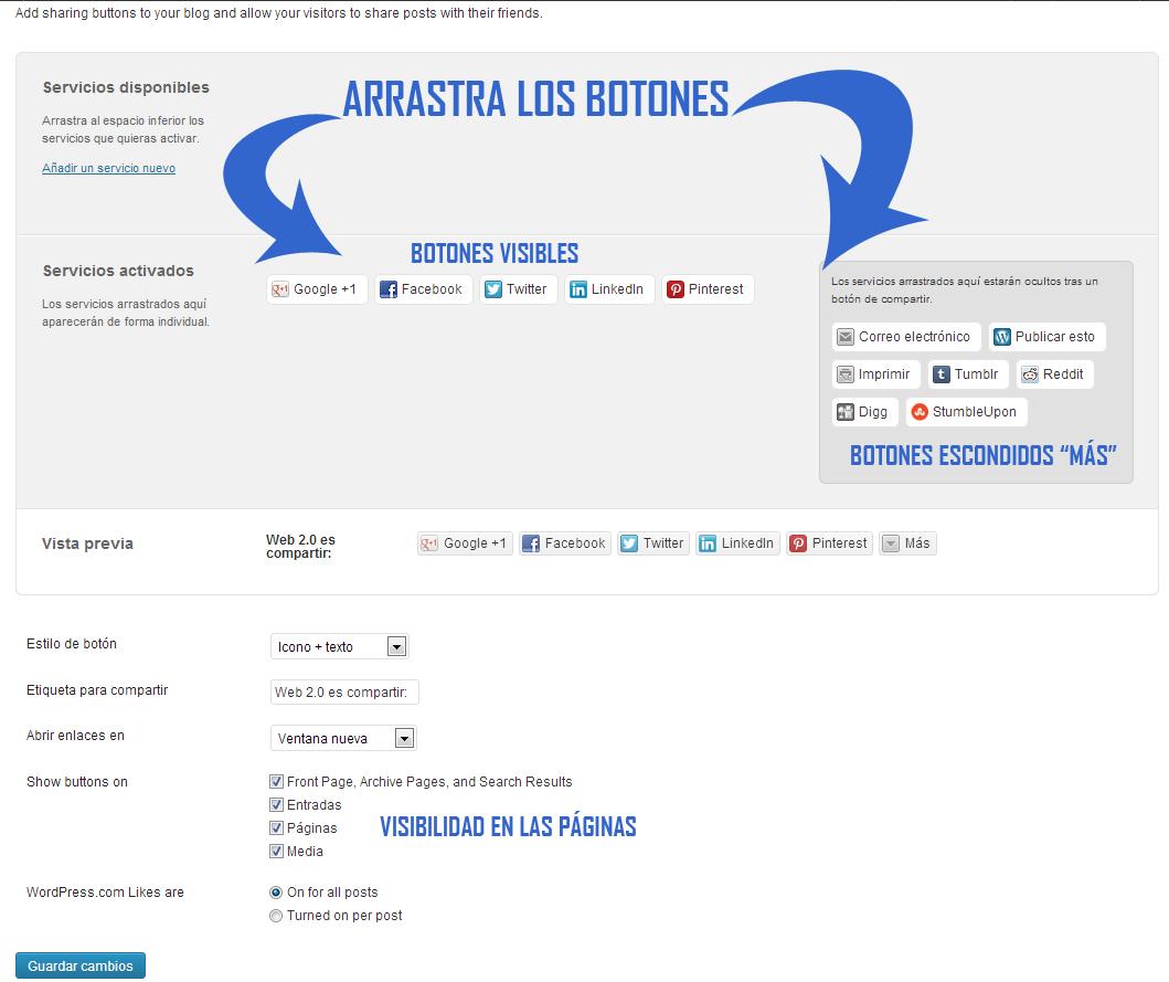 Configurar botones Redes Sociales en WordPress.com